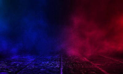 Fotomurales - Wet asphalt, reflection of neon lights, a searchlight, smoke. Red and blue neon light. Abstract light in a dark empty street with smoke, smog. Dark background scene of empty street, night view, night