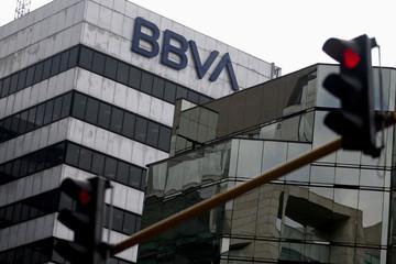 BBVA bank logo is pictured in Bogota