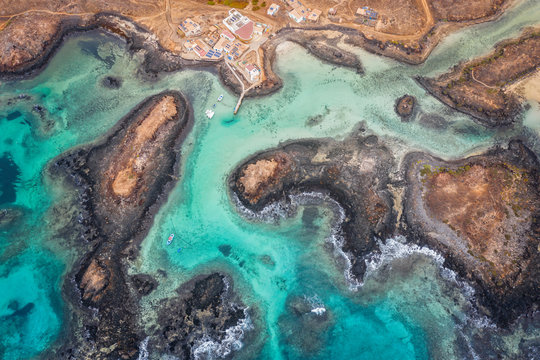 Aerial view of the coast of the island of Lobos, off the island of Fuerteventura in the Canary Islands in october 2019