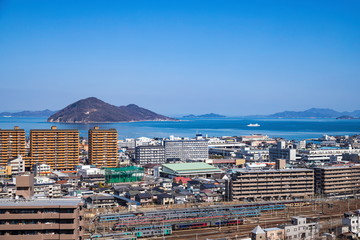 Cityscape of Takamatsu city with Railroad yard ,Shikoku, Japan