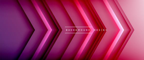 Arrow lines, technology digital template with shadows and lights on gradient background. Trendy simple fluid color gradient abstract background with dynamic straight shadow lines effect Wall mural