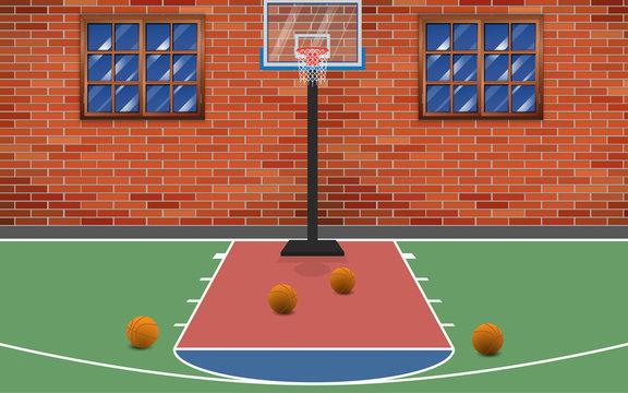 Basketball court at the backyard