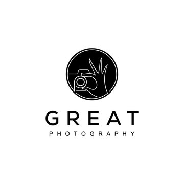 Modern camera photography with hand logo icon vector template