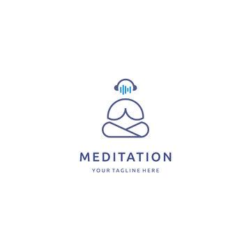 Meditation line art people wave music logo design