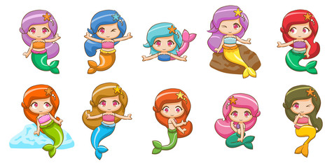 mermaid vector set collection graphic clipart design