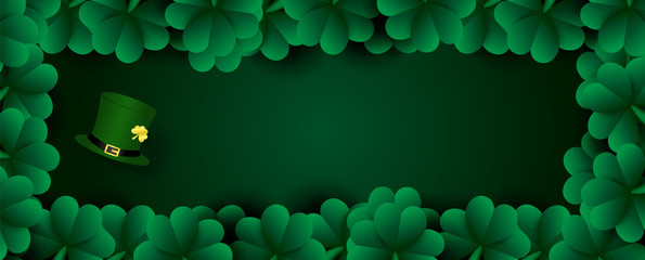 Many shamrock plants is picture with high hat of The Leprechaun and blank space for texts on green background. Saint Patrick's Day in vector and web design.