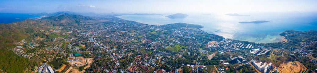 Fototapete - Aerial panorama of Phuket island, area of Rawai district