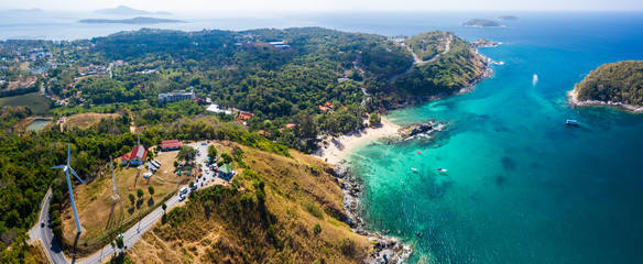 Fototapete - Aerial panorama of Phuket island with Ya Nui beach, sunset viewpoint and Promthep cape visible in the frame, Thailand