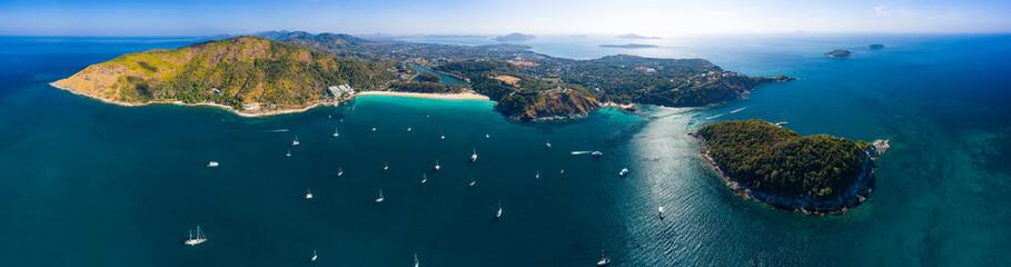 Aerial panorama of Phuket island. Nai Harn beach, Ya Nui beach and Southern tip are in the frame