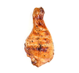 Fototapete - Grilled roasted bbq chicken leg isolated on white background