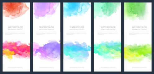 Fotobehang - Set of light colorful vector watercolor vertical backgrounds for banner or flyer