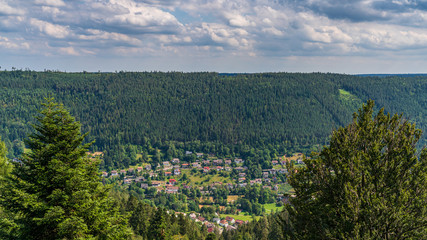 View over the landscape of the Northern Black Forest near Bad Wildbad, Baden-Wuerttemberg, Germany
