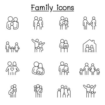 Family icon set in thin line style