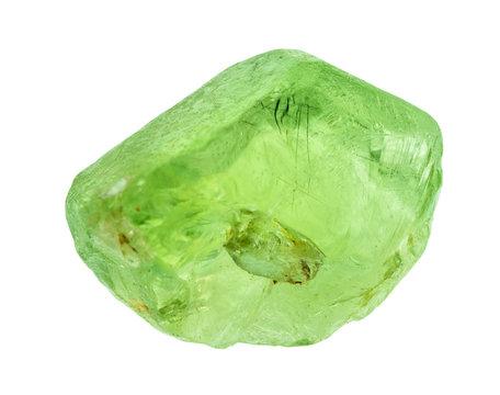 rough olivine (peridot, chrysolite) gem cutout