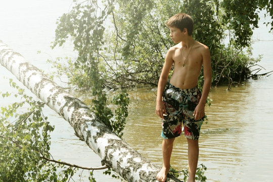 A 12 year old boy stands on a fallen birch trunk. Russian