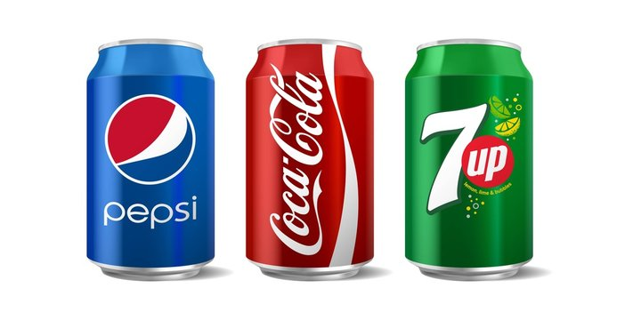 Vector illustration of classic Coca-Cola, Pepsi and 7 up can isolated on white background for editorial use.