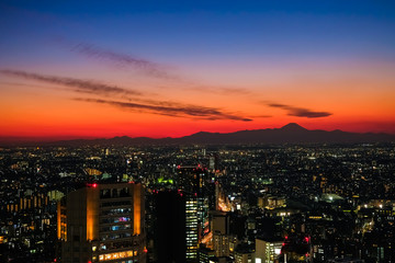 Fotobehang Las Vegas 東京 渋谷スクランブルスクエア 展望台からの夕暮れ 富士山