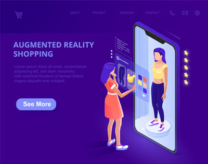 Augmented Reality. augmented reality online shopping. AR. The character uses a smartphone. Landing page template. 3d vector isometric illustration.