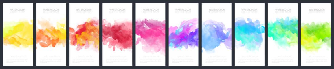 Fotobehang - Set of light colorful vector watercolor vertical backgrounds for poster, banner or flyer