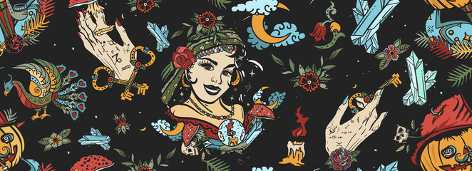 Dark gothic fairy tale background. Halloween seamless pattern. Old school tattoo style. Witch woman, gypsy, crystal ball, Jack O' Lantern, occult hands and black cats