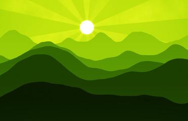 Fotorolgordijn Lime groen mountains hills sunset landscape