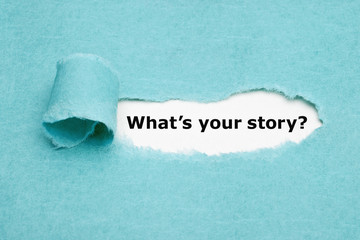 What Is Your Story Blue Paper Concept Fotomurales