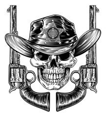 Cowboy grim reaper skull in western hat with star sheriff bagde drawing in a vintage retro woodcut etched or engraved style with pair of pistols or hand guns