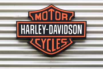 Dardilly, France - June 28, 2017: Harley-Davidson logo on a wall. Harley-Davidson is an American motorcycle manufacturer, founded in Milwaukee, Wisconsin in 1903