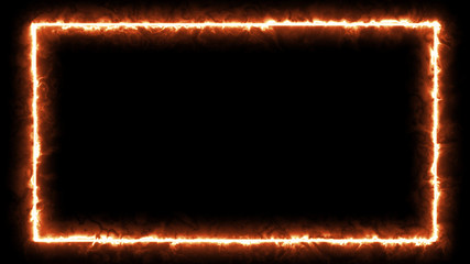 Empty frame with fire border glowing, burning flame signboard. Blank rectangle sign fire flames around frame lights. The best stock of photo image signboard orange fire burning on black background