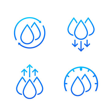 humidity and water icons on white