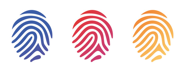 Vector illustration set of different shape fingerprint with color gradient in line style on white background
