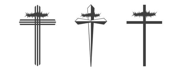 Set christian cross vector symbol flat isolated on white background