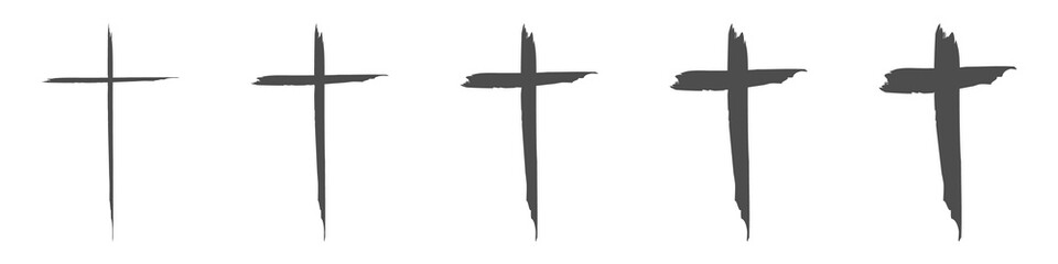 Set hand drawn cross. Vector cross. The cross is made with a brush.