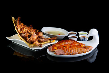 Poster Peking Peking duck on a black isolated background