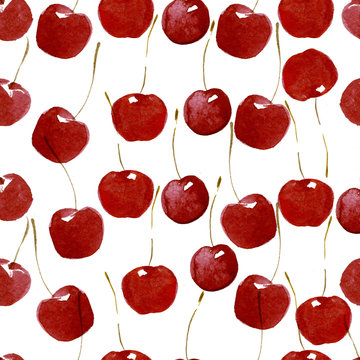 Seamless pattern of watercolor cherries on white background