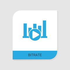 Editable filled Bitrate icon from Video Streaming icons category. Isolated vector Bitrate sign on white background