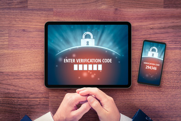 Two-factor authentication and verification security concept