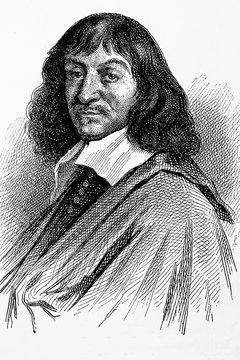 René Descartes. French philosopher, mathematician and physician. 1596-1650. Antique illustration. 188