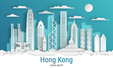 Paper cut style Hong Kong city, white color paper, vector stock illustration. Cityscape with all famous buildings. Skyline Hong Kong city composition for design. Fotomurales