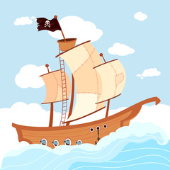 Cartoon pirate ship with black flag sailing in sea