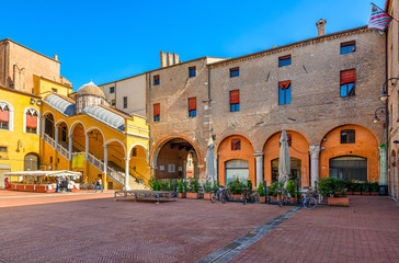 Wall Mural - Piazza del Municipio with historic staircase Scalone D'Onore in Ferrara, Emilia-Romagna, Italy. Ferrara is capital of the Province of Ferrara