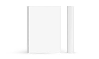 Hardcover book mockup front cover and spine isolated on white background. Vector illustration
