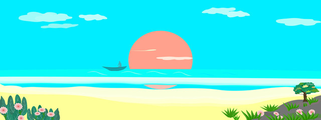 Landscape with sea golden sand and trees panorama vector illustration graphic design abstract background pattern