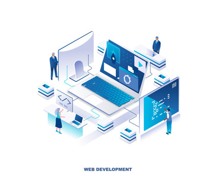 Front-end and back-end web development, programming, coding isometric landing page. Concept with programmers or coders working on computers around giant laptop. Modern vector illustration for website.