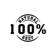 Obraz natural beef 100% symbol icon - fototapety do salonu