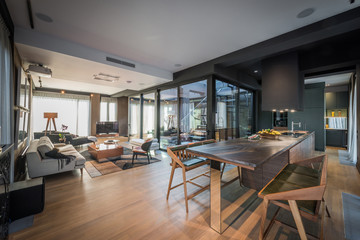Interior of a open plan living room in a luxury penthouse apartment Fototapete