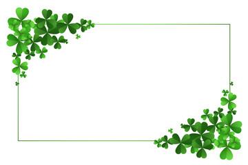 st patricks day clover leaves frame background