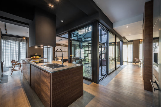 Kitchen interior in modern luxury penthouse apartment