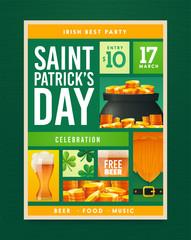 Saint Patrick's Day party poster design. Nightclub invitation. Patricks Day flyer, brochure, holiday invitation, corporate celebration Vector illustration
