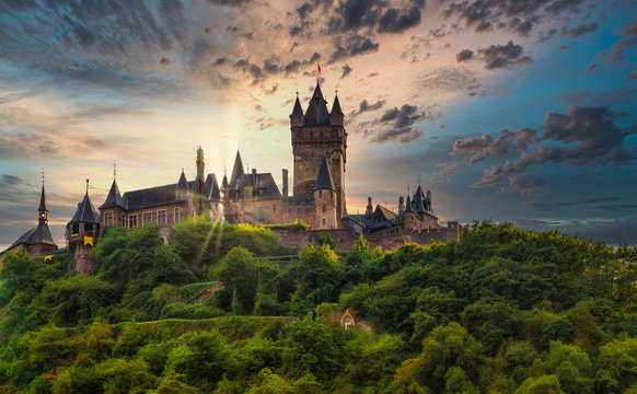 Castle of Cochem, a town on the Moselle in Germany.